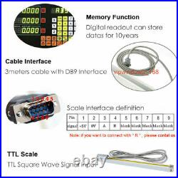 200&1000mm Digital Readout 2Axis DRO Display +2pc Linear Glass Scale Encoder Kit