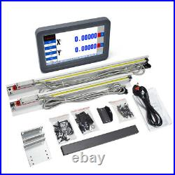 2Axis DRO Digital Readout LCD Touch Screen +8&38 TTL Linear Scale Mill Lathe