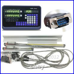 2Axis Digital Readout DRO Display Linear Scale Kit Milling Lathe Measure Tool