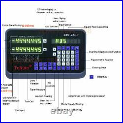 2Axis Digital Readout TTL 5um 10&40 Linear Glass Scale DRO Display CNC Milling