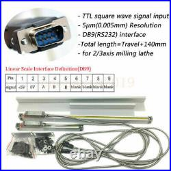 2/3 Axis Digital Readout Linear Scale TTL for Milling Lathes Machine 150- 1500mm