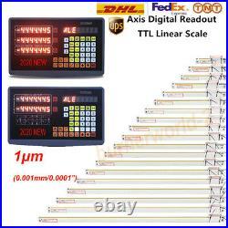 2 Axis Digital Readout TTL Linear Glass Scale Mill DRO Kit 10 40 250&1000mm