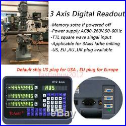 3Axis Digital Readout DRO Display Linear Scale 5µm 200&300&350MM for Mill Lathe