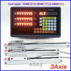 3 Axis Digital Readout 3pcs linear scale travel 150&250&500mm for Milling Lathe