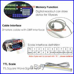 3 Axis Digital Readout DRO TTL Linear Glass Scale Bridgeport Mill 350&450&950MM