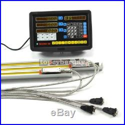 3 Axis READOUT Digital Display DRO+3 Linear Scale for Milling Lathe Machine