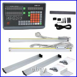 8''&40'' Linear Scale+2 Axis DRO Digital Readout Kit for CNC Mill Lathe Grinding