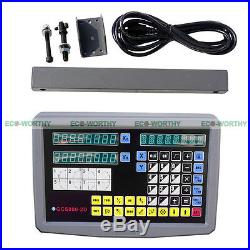 DRO 2 Axis Digital Readout Display Meter for Milling Lathe Machine Linear Scale