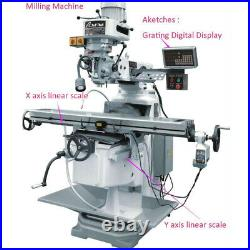 DRO 2 Axis Digital Readout Linear Scale Encode Kit Milling Lathe Machine Grinder