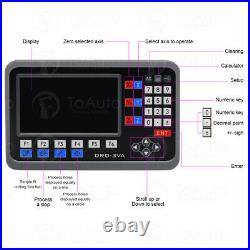 LCD Dro 2/3Axis Digital Readout Linear Glass Scale 5µm for Lathe Mill Machine
