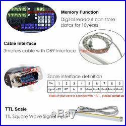 Linear Scale 300&1000mm 2Axis DRO Display Digital Readout Glass Encoder 5µm Set